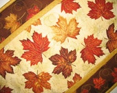 Autumn Table Runner, leaves, Thanksgiving, metallic, quilted, fabric from Hoffman