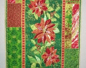 Christmas Wall Hanging, Poinsettia floral, quilted,