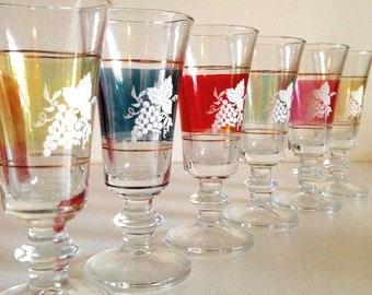 Mid-Century Grape/Multi-Colored Sherry Glasses
