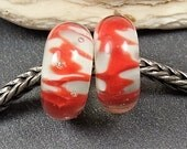 Big Hole Bead, Red & White, with or without silver lined core 925, artisan bead, appx 7x15mm