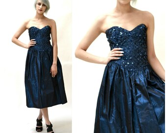 Vintage 80s Prom Dress Size XS Small Metallic Blue Sequins Strapless// Vintage Navy Blue Metallic Strapless Party Dress Size XS Small
