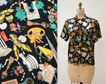 Vintage Nicole Miller Silk Shirt NYC New York City Print Size Small Medium// Vintage New York City Print Silk Shirt
