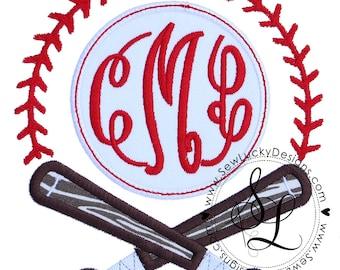 Baseball Bats monogram appliqué design - Sports monogram - monogram frame - machine embroidery design- appliqué design - INSTANT DOWNLOAD