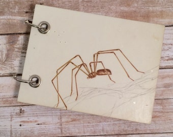 Recycled  Notebook - Recycled Book - Large To Do Note Pad - Refillable Notepad - Spider Note Book