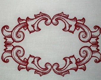 Baroque Swirls Embroidered Quilt Label to customize with your personal message