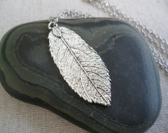 Silver Boho Leaf Necklace - Silver Bohemian Leaf Pendant - Simple Everyday Silver Jewelry - Botanical Nature