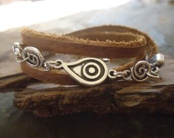 SPIRAL DROP & antique leather wrap bracelet (1741)