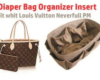 Diaper Bag Organzer insert For LV Neverfull PM + FREE Pacifier Holder /  Made To Order / Faux Coffee