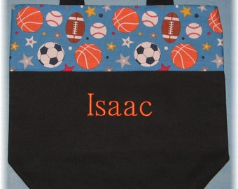 Personalized SPORTS theme canvas tote bag for boys preschool daycare kids library book bag little boy Ring Bearer birthday gift idea soccer