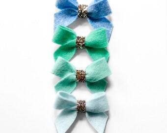 Felt Chubby Ribbon Bows with Glitter Center || Headband or Clip