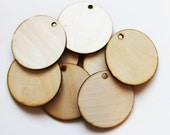 """Unfinished Large Round Wood Circle Discs with hole 4 1/2"""" Set of 10, wood disc, wood ornament, Holiday supplies, jewelry supplies, DIY"""
