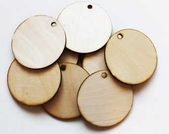 """Unfinished Large Round Wood  Circle Discs with hole 4 1/2"""" Set of 10, wood disc, wood ornament, Holiday Craft supplies, jewelry supplies"""