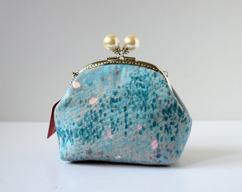 Cosmetic Frame Purse - Galaxy blue - Portable and multiple purposes - Japanese fabric