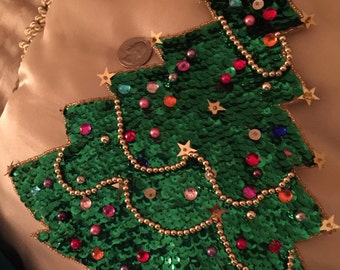 """Sequin appliqué Christmas tree large/about 10""""tall Gold beads& stars-rare htf/no flaws"""