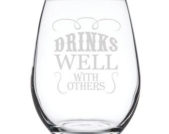 Stemless White Wine Glass-17 oz.-7830 Drinks Well with Others