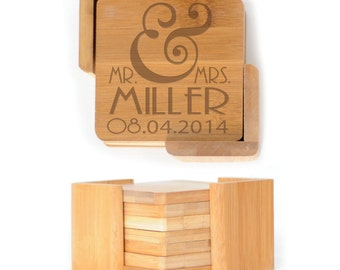 Personalized Wooden Square Coasters - Set of 6 with holder - 2608 Mr. & Mrs. Personalized with date
