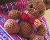 Crochet Bear wirh Bow Tie Stuffed Animal Plush Toy - Honey Brown - Personalize