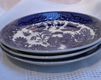 3 Blue Willow saucers, Willow Ware, Japan, Transferware  (BW-5)
