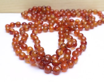"""Genuine Faceted Carnelian Necklace, Long Hand Knotted Necklace 60"""""""