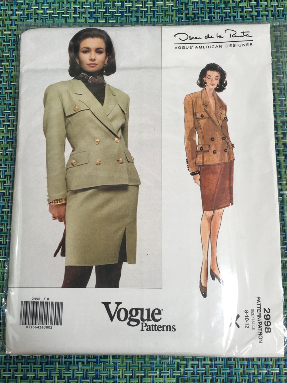 años noventa Vogue 2998 de patrón de costura de Oscar de la Renta ...