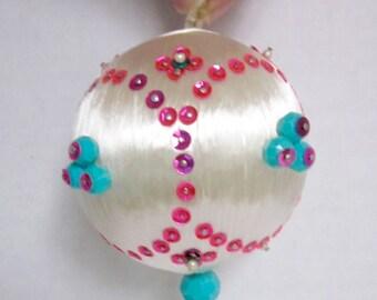 Pink Aqua Christmas Ornament Holiday Decoration Jeweled Ornament Mid Century Home Decor 1960s Handmade