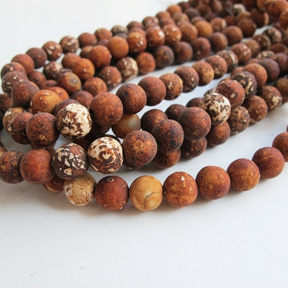 Tibetan Dzi beads, 47PCs brown wood grain agate beads, 8mm round gemstone beads