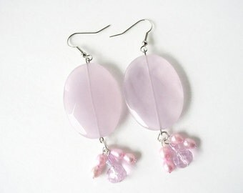 Pink Statement Earrings, Large Dangle Earrings, Chunky Drop Earrings, Pink Pearl Tassel Earrings