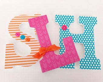 Pink, Blue, & Orange Custom Decorated Wooden Letters, Nursery Alphabet Name Décor, Girl Bedroom, Hanging Wood Wall Decorations, Baby Shower