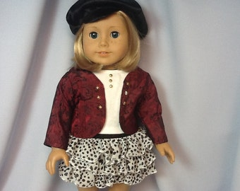 18 Inch Doll Clothes Four Piece Skirt and Jacket Outfit with  Shirt and Cap for dolls like American Girl