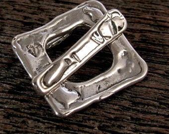 Artisan Sterling Silver Toggle Clasp  -  Rustic  -Square   - Handcrafted AC22