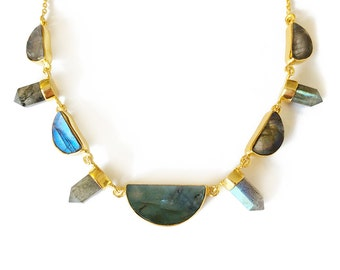 Labradorite multi stone necklace- statement necklace, gemstone necklace, Labradorite necklace