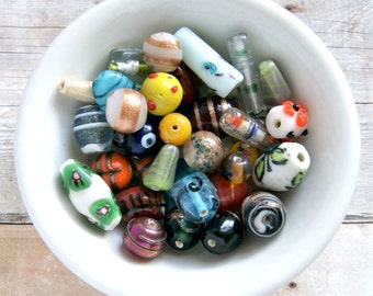 carnival lampwork bead mix, destash, colorful, focal beads