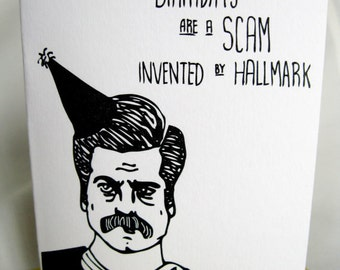 INSTANT DOWNLOAD Ron Swanson Birthday Card