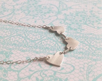 "Small Simple Heart Trio Sterling Silver Necklace in 18"" , 19"" , 20"" , 21"" , 22"" length"