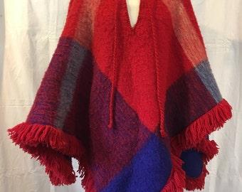 1970's Retro Vintage Multicolor Wool Poncho