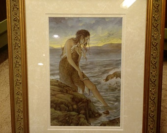The Selkie Signed Print in an 11x14 Decorative Gold Frame