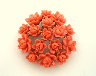 Vintage Molded Early Plastic Celluloid Coral Flowers Brooch Gold Tone Setting JAPAN