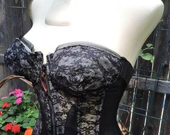 1950s Vintage Black Lace Strapless Bustier Merry Widow Lilyette Size 34