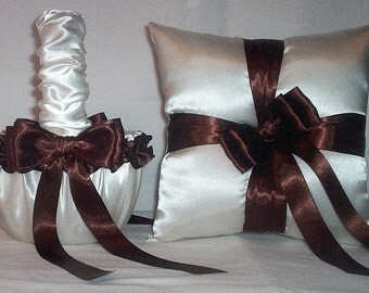 Ivory Cream Satin With Chocolate Brown Ribbon Trim Flower Girl Basket And Ring Bearer Pillow Set 2