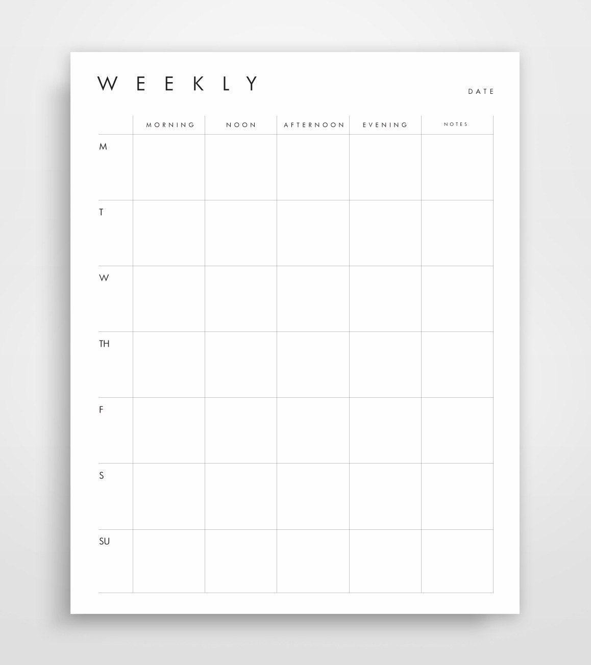 Monthly Calendar By Week : Weekly planner business printable week