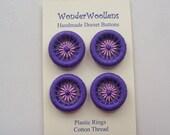 Dorset Buttons, Handmade Buttons, Plastic & Cotton Buttons, Four Purple Lilac Dorset Buttons, Artisan Dorset Buttons, Unique Buttons