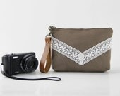 Ivory lace chevron choco brown pouch , Design by BagyBags