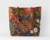 Gray blossom tote / diaper bag / shoulder bag, leather handles, 9 pockets.  Design by BagyBags
