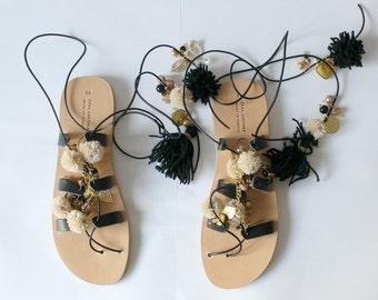 Black Gladiator Sandals/Lace up sandals/Boho sandals, women's gladiators, ethnic sandals, womens black pompom sandals, sandales femmes,