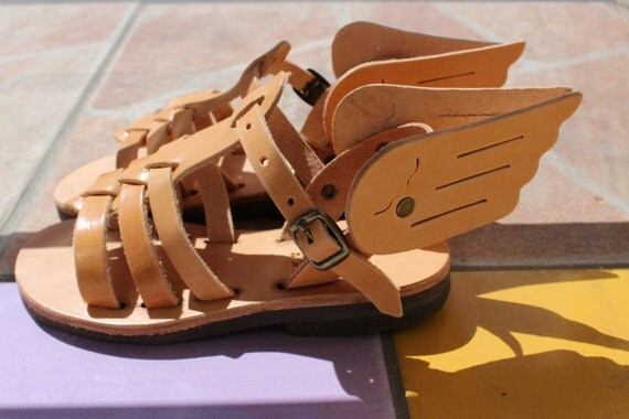 Leather sandals wings for children, kids wing sandals SANDALES garcon sandales fille sandales cuir