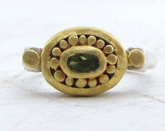 Peridot Ring - 24k Gold & Silver Ring - Fine Gold and Peridot Ring - Peridot Engagement Ring