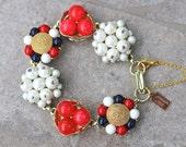 Reclaimed Vintage Bracelet, Bridesmaid Gift, Wedding Bracelet, Vintage Earring Bracelet, Gift Under 40,Cluster Earrings - Liberty Belle