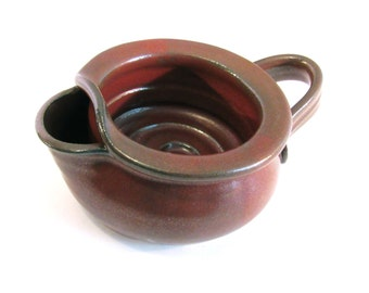 Shaving Scuttle Mug Cup Bowl For Comfort Hot Wet Shave - Handmade Pottery Glazed Rustic Rust Red