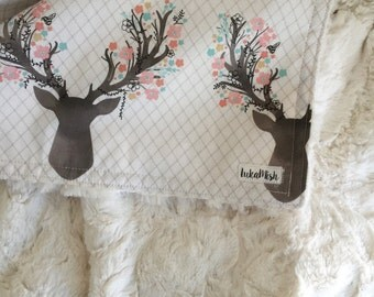 PRE ORDER - Floral Deer Deluxe minky Snuggle Blanket - Grey - pram size minky baby blanket - Perfect Baby Shower Gift!
