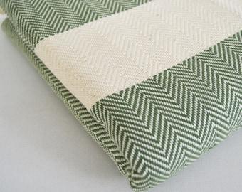 SALE 50/ OFF Herringbone Blanket / Green / Bedcover, Beach blanket, Sofa throw, Traditional, Tablecloth, Twin blankets